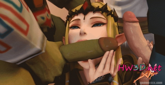 Princess Zelda and Hilda do a blowjob 1080p 2xGIFS!