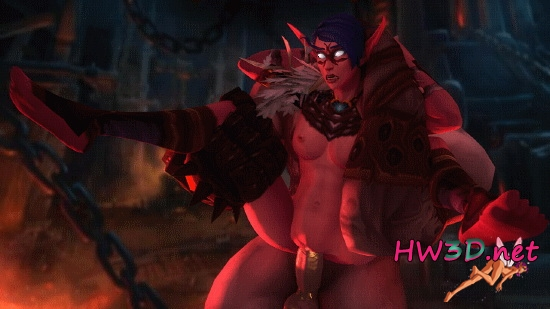 Night elf thisalee crow orc blackhand (world of warcraft) 720p 4xGIFS!